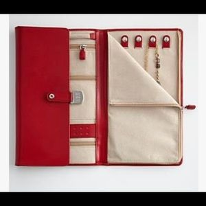 Red Envelope Red Leather Jewelry Travel Portfolio